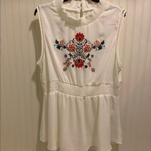 Torrid embroidered peplum blouse